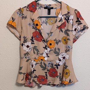 Cute Floral Button-Up Peplum Top - Size Small